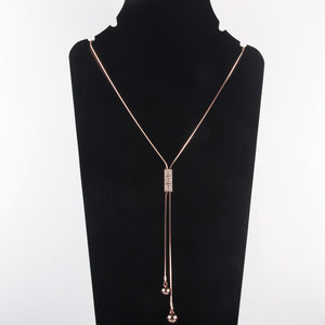 Long Tassel Necklace Y Bar Chain Drop Adjustable Necklace for Women
