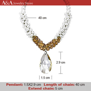 Luxury Simulated Pearl Necklaces Water Drop Pendants Necklace for Women Wedding Party Dropshipping With Earing