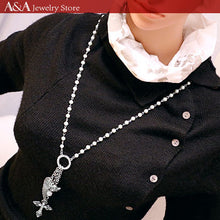 Simulated Pearl Long Necklace Cross & Angel Wings Pendants Necklace For Women Punk Style Antique Silver Plated With Earing