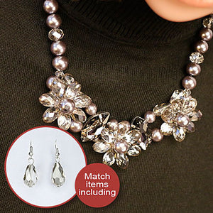 Statement Necklaces Simulated Pearl with Flowers Pendants Necklace With Earing