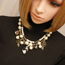 Simulated Peal Statement Collar Necklaces Luxury Rhinestions Pendants Necklaces