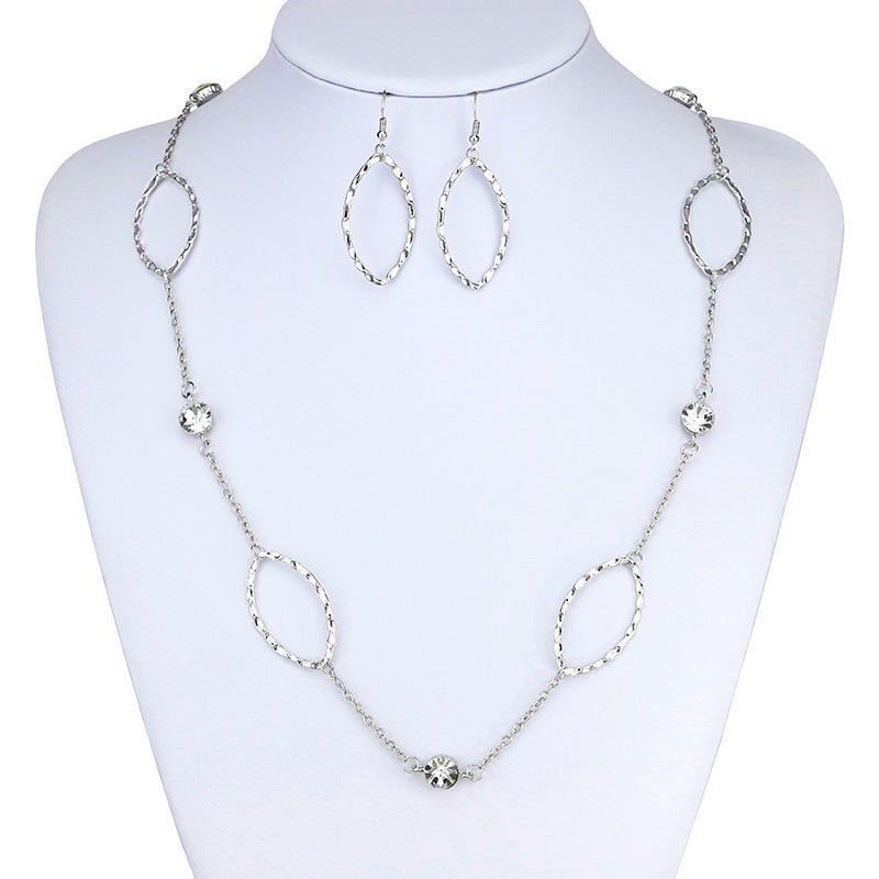 Fashion Long Necklaces Silver Plated Circle and Rhinestones Decorated Link Chain Necklaces With Earing