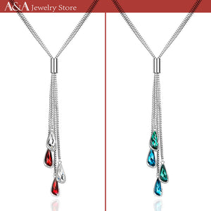Long Necklaces Water Drop Design Rhinestone Pendants Necklaces With Earing For Women OL Style 4 Colors Dropshipping