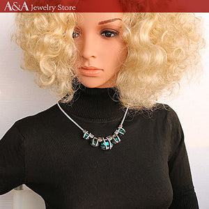 Statement Necklaces Oval Rhinestone Snake Chain Necklaces With Earing for Women Fashion Style Two Colors