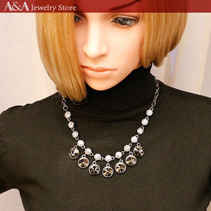 Maxi Statement Chain Necklaces with Luxury Black Rhinestones Pendants Necklaces For Women Party Dress High Quality