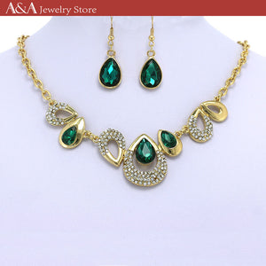 Luxury Statement Collar Necklaces Green Water Drop Design Necklaces With Earing for Women Party Dress