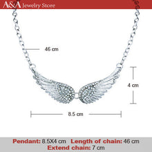 Trendy Angel Wings Choker Necklace Luxury Rhinestones Pendants Necklaces With Earing for Women Collar Fashion