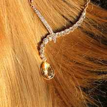 Pendants Necklaces with Water Drop Shape Rhinestone Long Necklaces With Earing for Women Evening Party