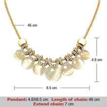 Ethnic Statement Pendant Necklace Simulated Opal Stone Pendant Snake Chains With Earing for Women Party Necklace Accessories