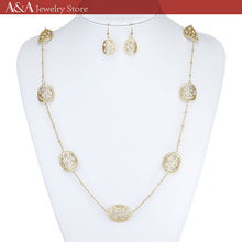 Fashion Long Necklace Luxury European Vintage Hollow design Pendants Necklaces With Earing for Women Love Gift