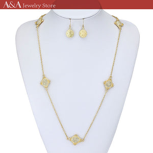 Hot Sales Female Long Necklaces High Quality Link Chain Necklaces With Earing for Women OL Style