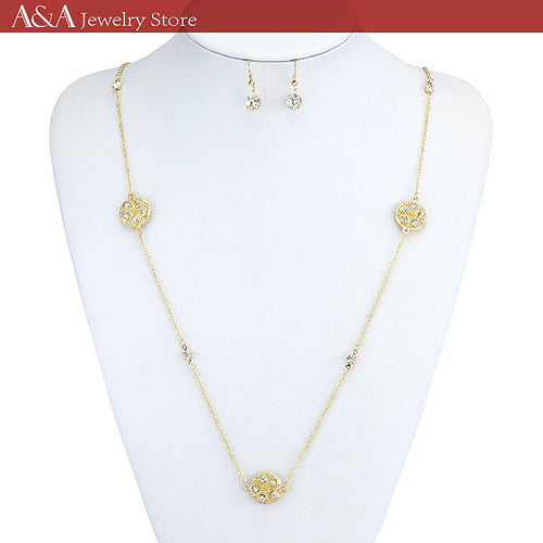 Elegant OL Style Long Necklaces Rhinestones Link Chains Female Necklaces With Earing