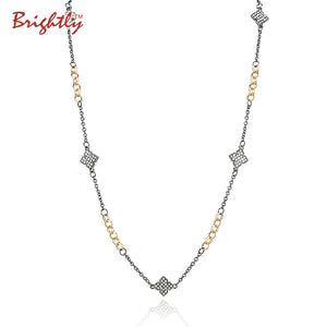 Hot Sales Vintage Long Necklaces Four Leaf Cloves Design Pendants Necklaces WIth Earing for Women OL Style