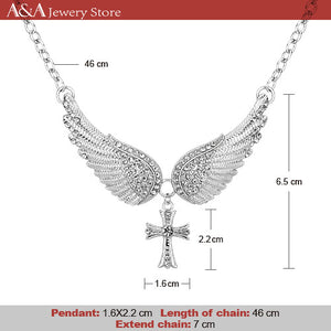 Hot Sales Statement Choker Necklace Angel Wings Cross Pendants Necklaces With Earing for Women Gifts