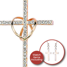 Double Circles Cross Pendants Necklaces with Rhinestone Long Necklaces WIth Earing for Women Love Gift