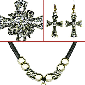Punk Vintage Cross Pendants Female Necklaces Heart and Luxury Black Imitation Leather Necklaces With Earing for Women