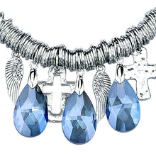 Angel wings & Cross Statement Necklaces with 5 Blue/white Hanging Drop Luxury Rhinestone Pendants Necklaces With Earing For Women