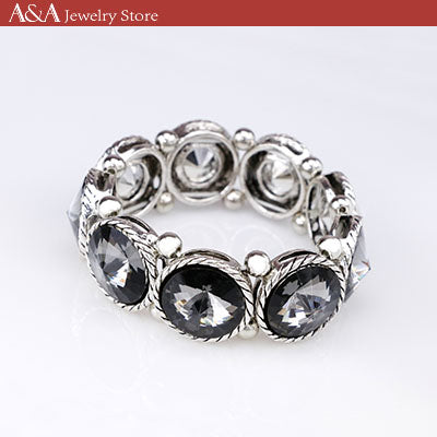 Hot Sales Bracelets & Bangles Black/White Colors Luxury Rhinestones Paved Round Bracelets