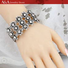 Bracelets & Bangles with Flowers Charms Black Zinc Plated Bracelets