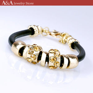 Punk Bracelets & Bangles with Rhinestones Beads Charms Simulated Leather Bracelets