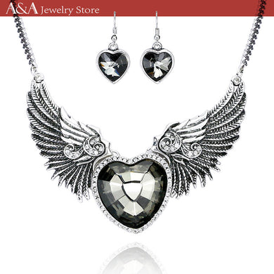 Punk Style Collar Statement Necklace Love Heart & Angel Wings Pendants Necklaces With Earing