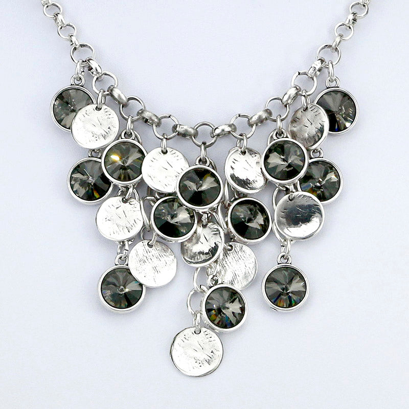 Collar Necklaces Black Roundle Rhinestones Pendants Necklace With Earing