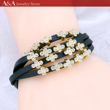 Fashion Bangles & Bracelets Four-Leaf Clovers Rhinestones Multilayer Simulated Leather Magnetic Bracelet