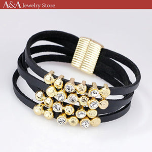 Fashion Simulated Leather Bangles & Bracelets Round Rhinestones Multilayer Magnetic Bracelet