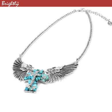 Vintage Angel Wings Cross Pendant Necklaces for Women Punk & Hiphop Greenish-blue Cross Collar Chains Fashion Jewelry With Earing