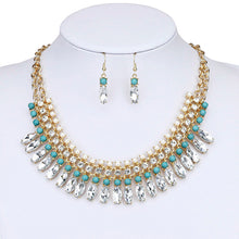 Bohemian style Statement Necklaces Greenish-blue color Beads & Rhinestones Pendants Necklaces With Earing