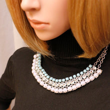Bohemian Statement Collar Necklaces Greenish-blue Beads Simulated Pearls Pendants Necklaces With Earing