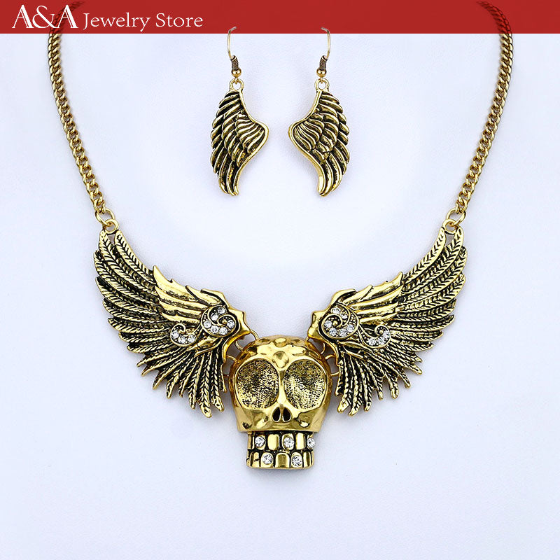 Punk Style Skull Wings Statement Necklaces Link Chain Collar Necklaces With Earing