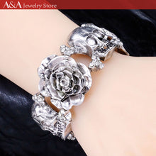 Punk Style Bracelets & Bangles with Flowers and Skulls Design Bracelets for Women Halloween Gifts