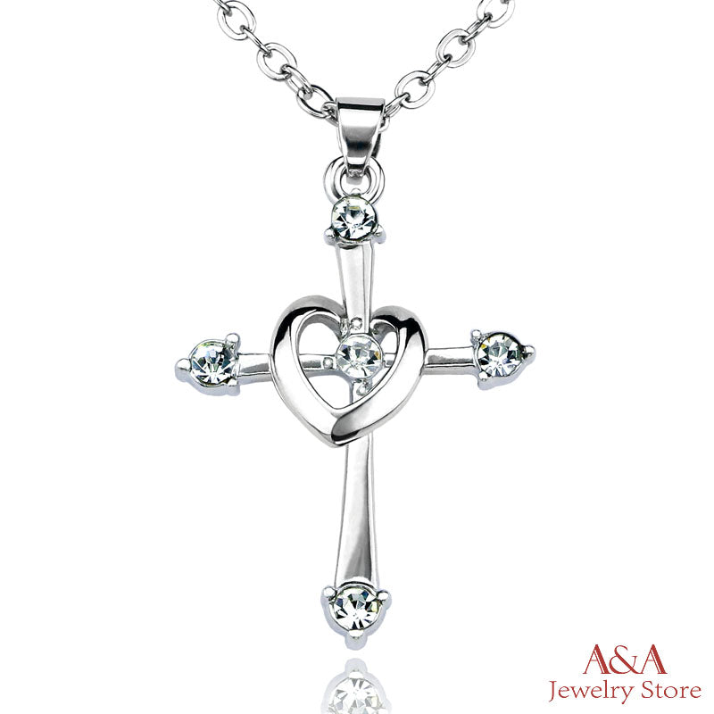 Cross Heart Pendant Necklaces with Luxury Rhinestones Chain Necklaces for Women Valentine's Day
