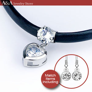 Zircon Heart Pendants Necklace Black Simulated Leather Choker Necklaces With Earing