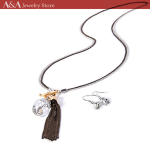 Double Chain Long Necklace Water drop and Tassel Pendant Necklaces With Earing For Women