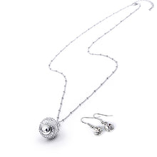 Luxury Long Necklace Dazzling Sphere Rotatable Pendant Necklace With Earing For Women OL Style