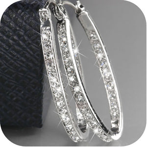 Women Fashion Luxury 9K Solid Gold Filled Silver Crystal Gemstone U Shape Hoop Huggie Earrings Jewelry