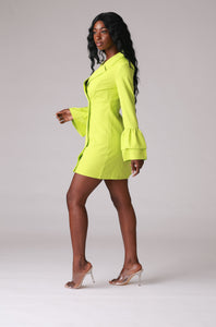 Lime Double Breasted Blazer Dress
