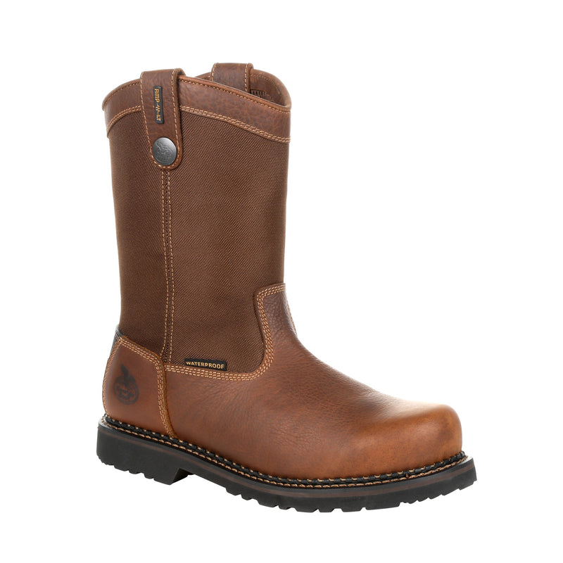 Georgia Giant Revamp Steel Toe Waterproof Pull-On Work Boot Brown GB00319