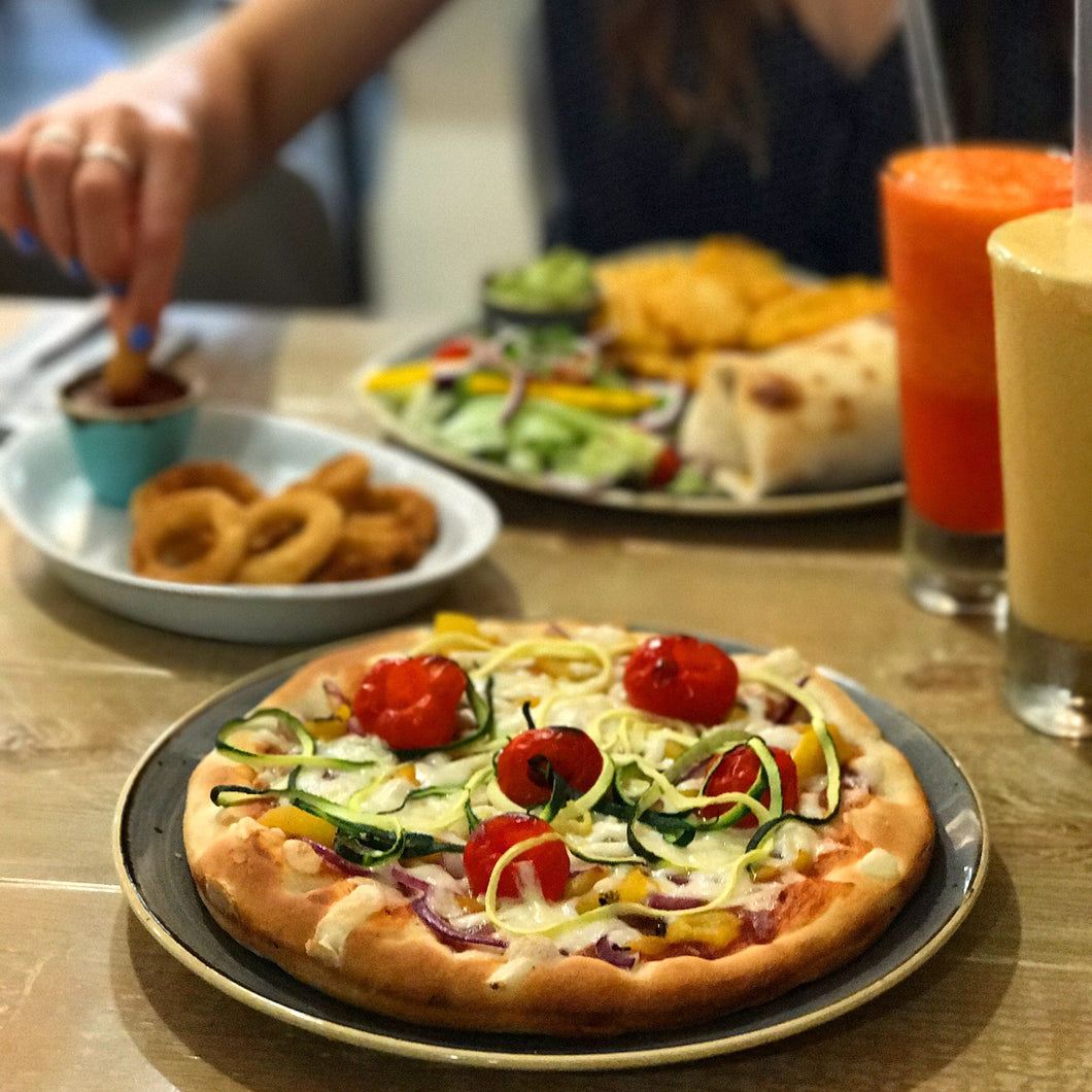 2 x regular pizza, 1 x side,1 x dessert for £20.00!!  At The Pizza Cafe, Newton Abbot