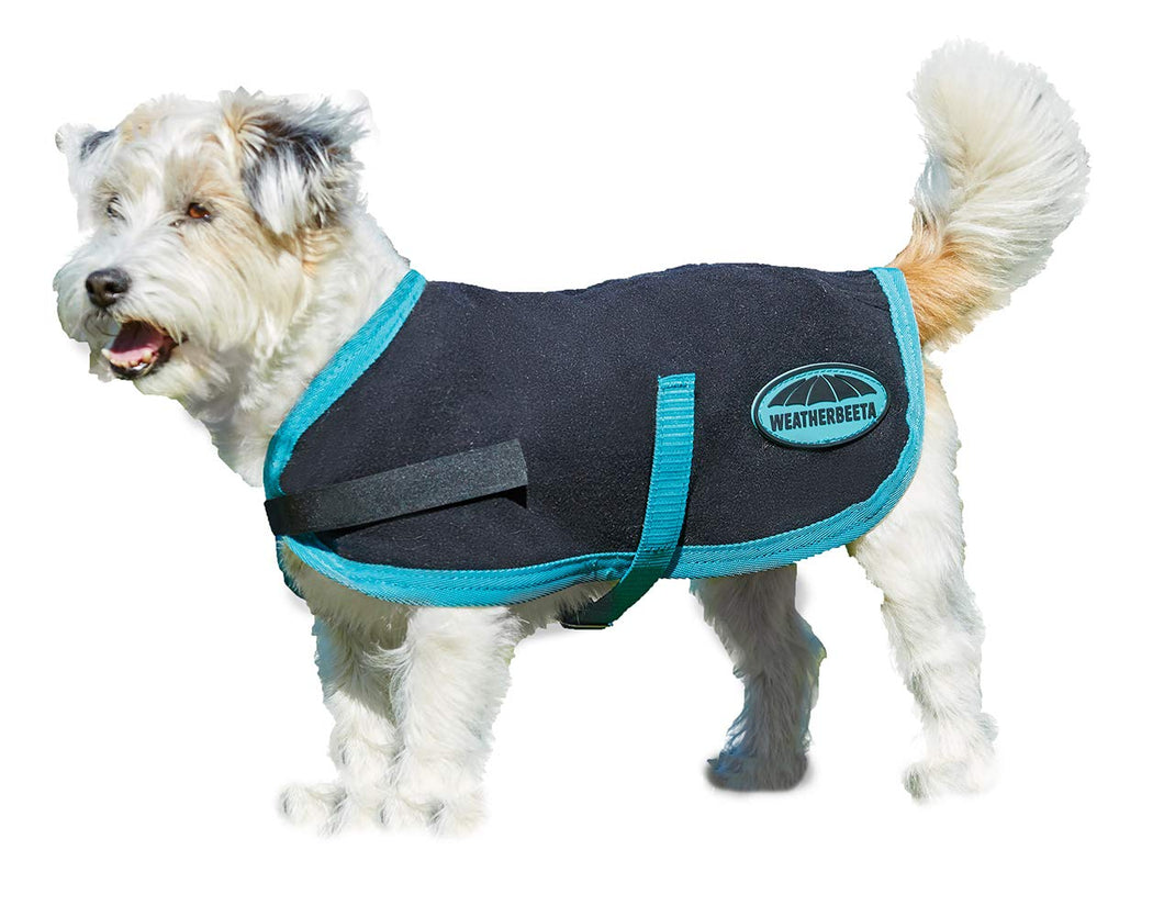 Weatherbeeta Fleece Dog Coat Black/Turquoise 24