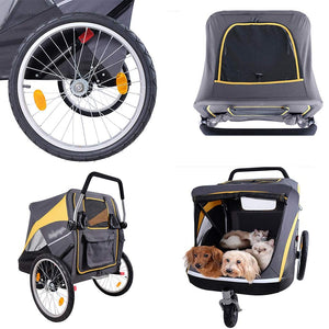 Pet Stroller Large Pet Stroller Comfortable Big Space Trolley Quality Dog Baby Buggy Folding Cart Stroller Love Dog Pet stroller (Color : Gray, Size : 100 * 78 * 96cm)