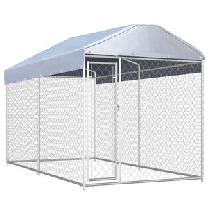 Outdoor Dog Cat Kennel with Canopy