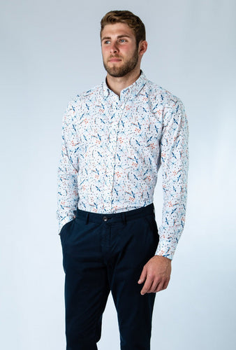 Blue Dragonfly Print Shirt