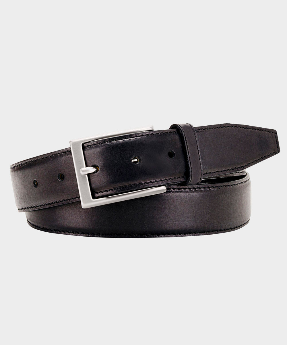 Black Leather Topstitch Belt