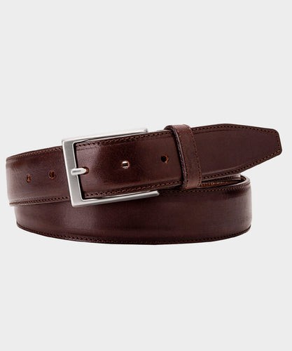 Dark Brown Leather Topstitch Belt