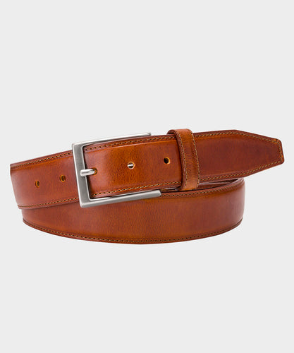 Cognac Brown Leather Topstitch Belt
