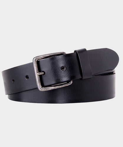Black Plain Leather Belt