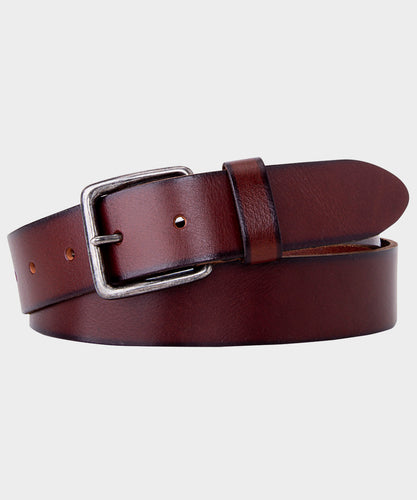 Dark Brown Plain Leather Belt